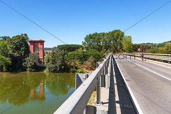Bridge across Tanaro river in Italy.
