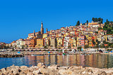 Multicolored houses of Menton, France.
