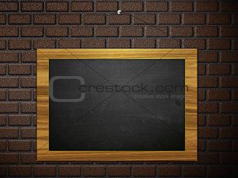 Chalkboard hang on brick wall