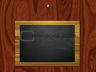 Chalkboard hang on wooden wall