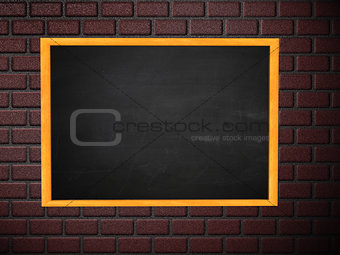 Chalkboard on brick wall
