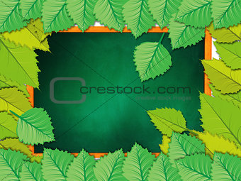 Chalkboard with leaves