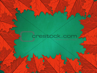 Chalkboard with red maple leaves