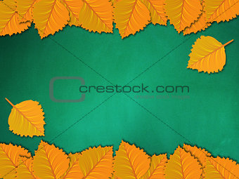 Chalkboard with yellow leaves