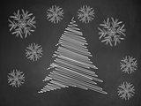 Christmas tree on blackboard