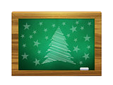 Christmas tree on green board