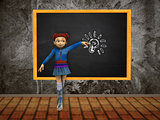 Girl with blackboard and lightbulb