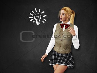 Girl with light bulb on blackboard