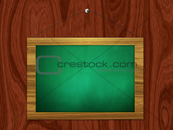 Green chalkboard hang on wooden wall