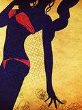 Grunge red bikini silhouette
