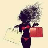 Halftone shopping bikini girl silhouette