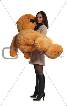 beautiful girl with toy bear
