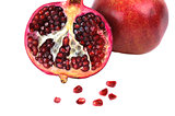 Ripe pomegranate fruit isolated on white background cutout