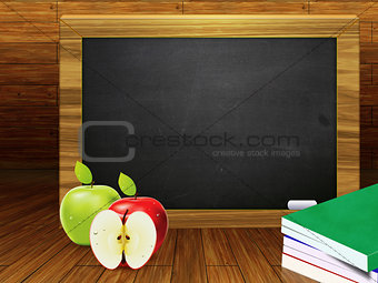 School books and blackboard