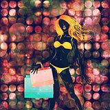 Shopping yellow bikini girl