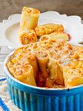 Paccheri gratin baked.