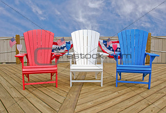 patriotic Adirondack chairs