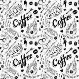 Coffee seamless pattern in traditional tattoo style, vector illustration