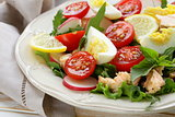 fresh green salad with salmon and tomatoes