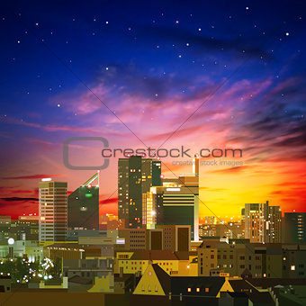 abstract nature background with city and sunset