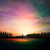 abstract nature dark background with forest lake sunset and clou