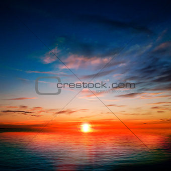 abstract background with ocean red sunset
