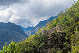 Inca ruins near Machu Picchu  Cuzco Peru