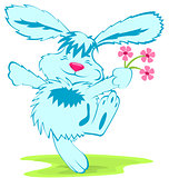 Blue rabbit with flowers