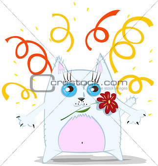 Cartoon cat with flower