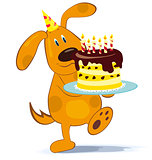 Cartoon dog with cake