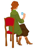 Retro girl sitting with coffee cup isolated
