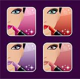 Makeup icons.