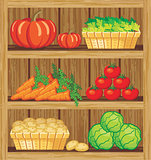 Supermarket. Shelfs and vegetables