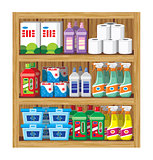 Shelfs with household chemicals.