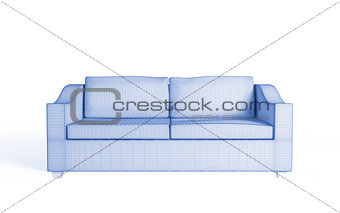 3d wireframe of a modern sofa.