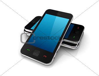Modern mobile phones.