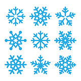 Snowflakes blue vector icons set