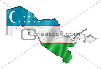 Uzbekistan flag map