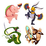 Pig, rabbit, snake and monkey.