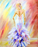 Beautiful woman at the ball. Oil painting.