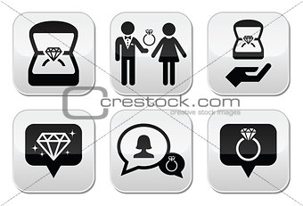 Engagement, diamond ring in box vector buttons set