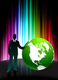 Businessman with Globe on Abstract Spectrum Background