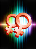Lesbian Gender Symbols on Abstract Spectrum Background