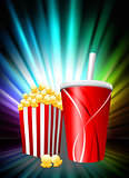 Popcorn and Soda on Abstract Spectrum Background