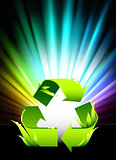 Recycle Symbol on Abstract Spectrum Background