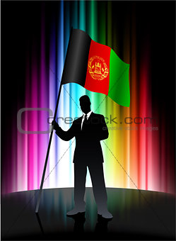 Afghanistan Flag with Businessman on Abstract Spectrum Backgroun