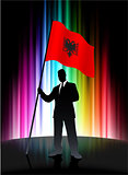 Albania Flag with Businessman on Abstract Spectrum Background