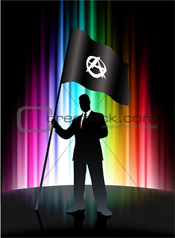 Anarchy Flag with Businessman on Abstract Spectrum Background