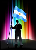 Argentina Flag with Businessman on Abstract Spectrum Background