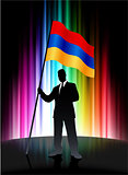 Armenia Flag with Businessman on Abstract Spectrum Background